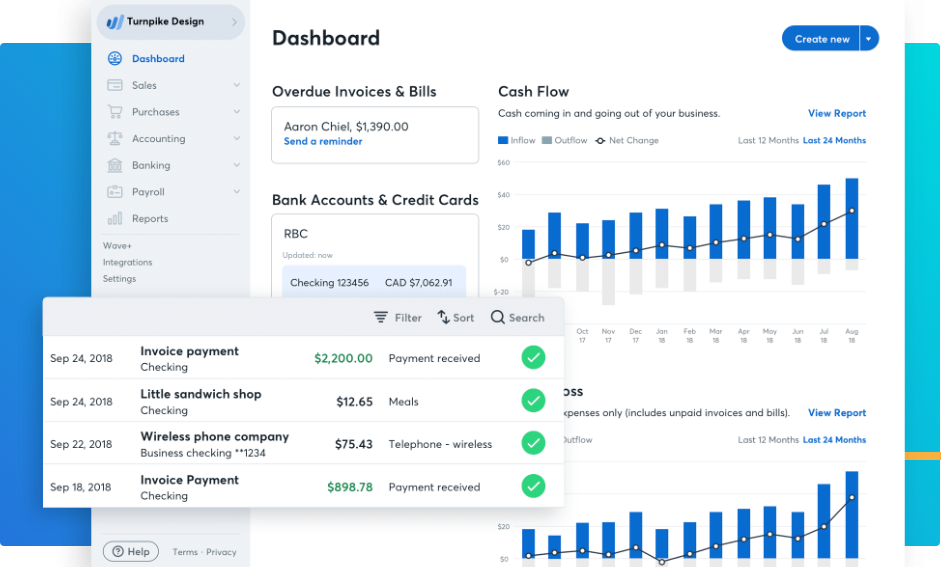 Wave accounting bookkeeping app for small business