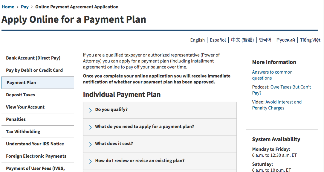 IRS Offers Online Payment Plan