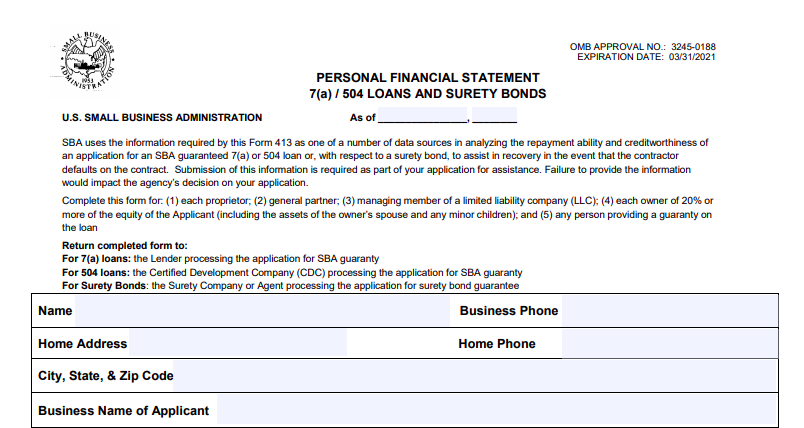Sba Form 413 How To Fill Out The Personal Financial Statement Disaster Relief
