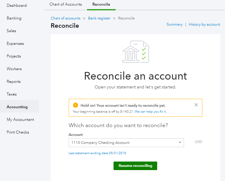how to reconcile in quickbooks online