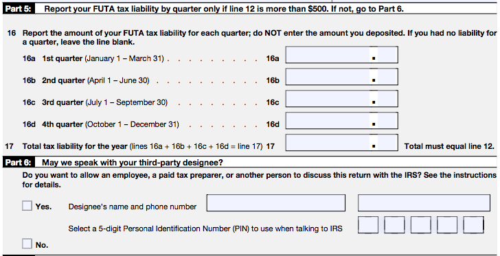 IRS Form 940 Parts 5 and 6