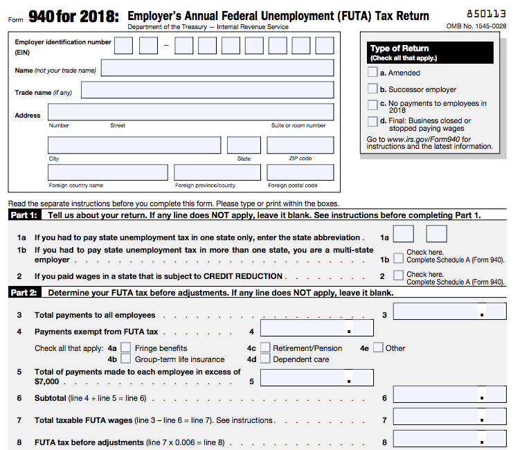 IRS Form 940 Top Section and Parts 1 and 2
