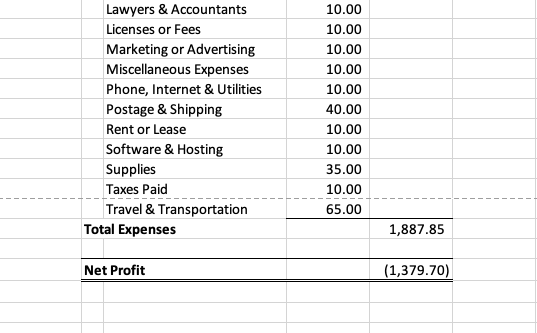 excel bookkeeping