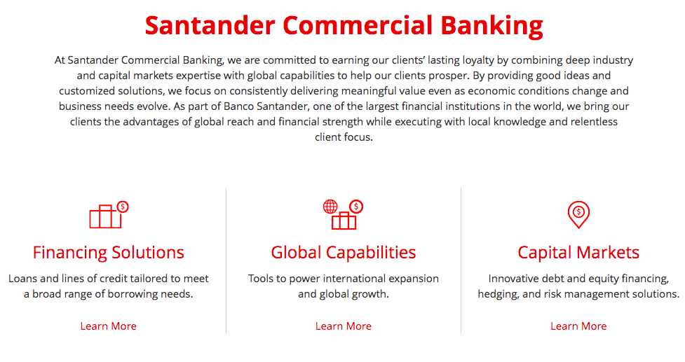 Santander Bank best bank for small business
