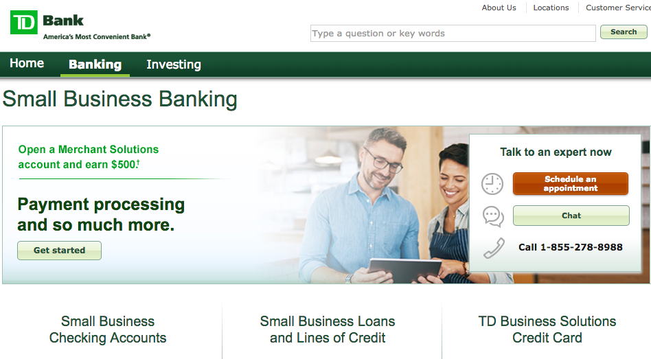 TD Bank Best Bank for Small Business