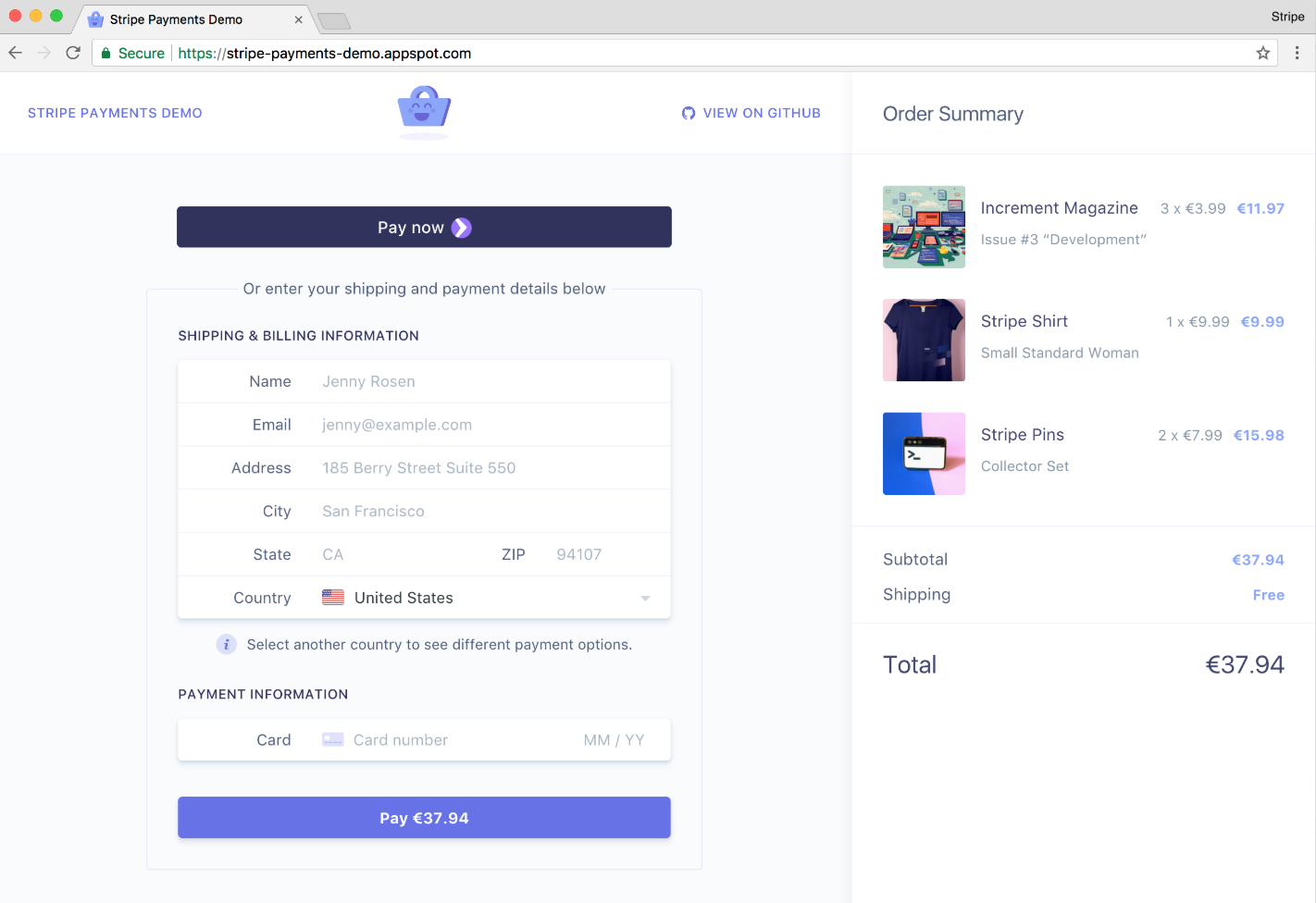 stripe review checkout example