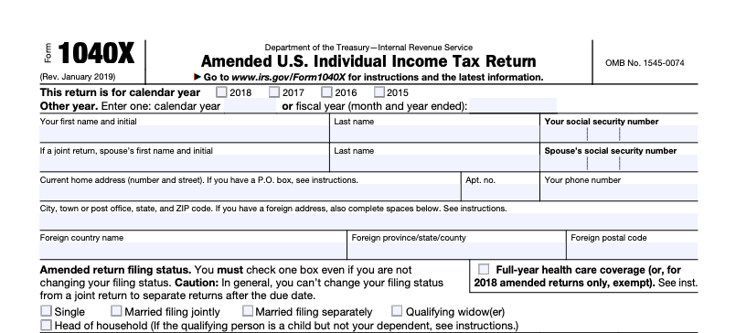 form 1040X part one