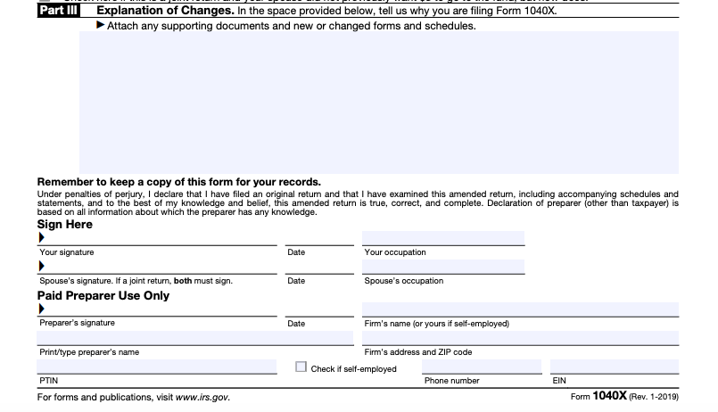 IRS Form 1040X part III