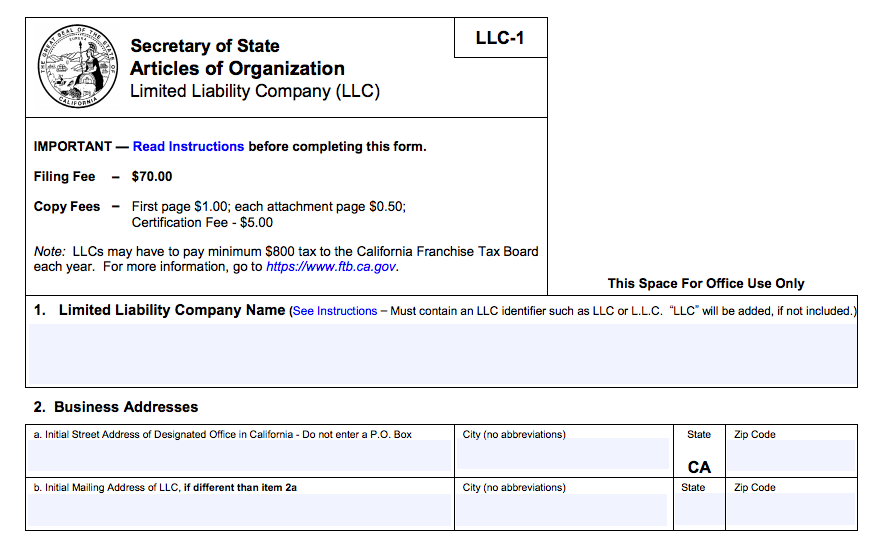 how to form an LLC in California