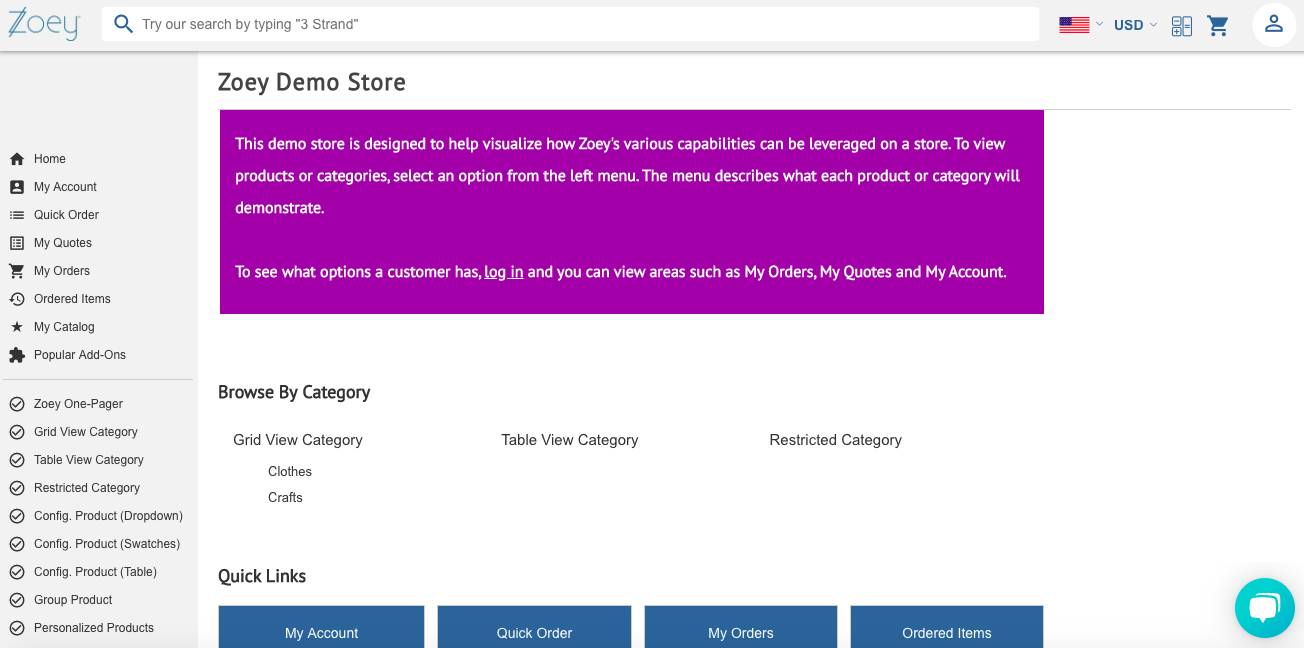 zoey ecommerce demo store interface