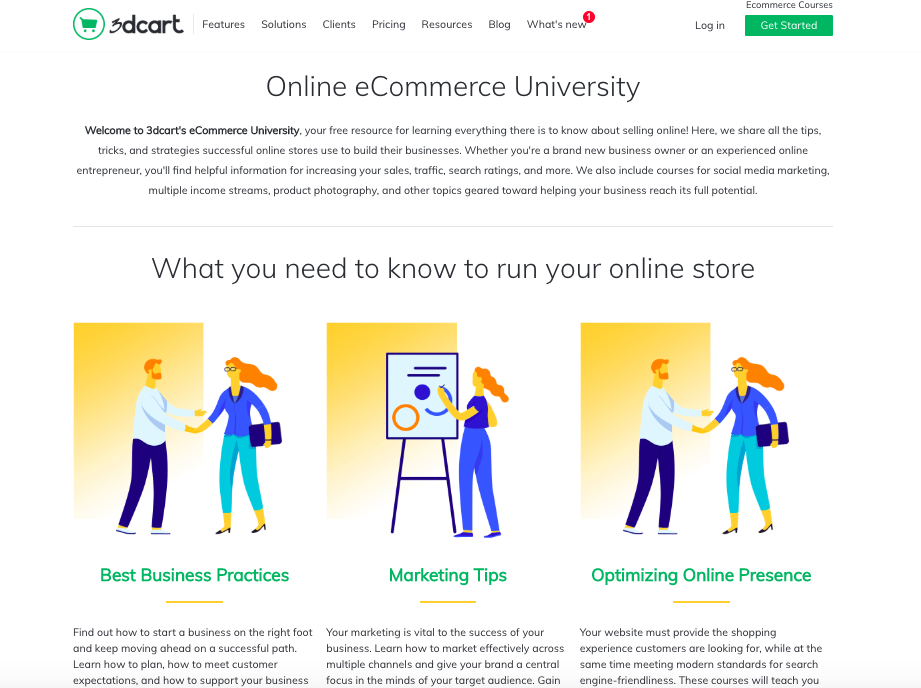3dcart ecommerce university homepage
