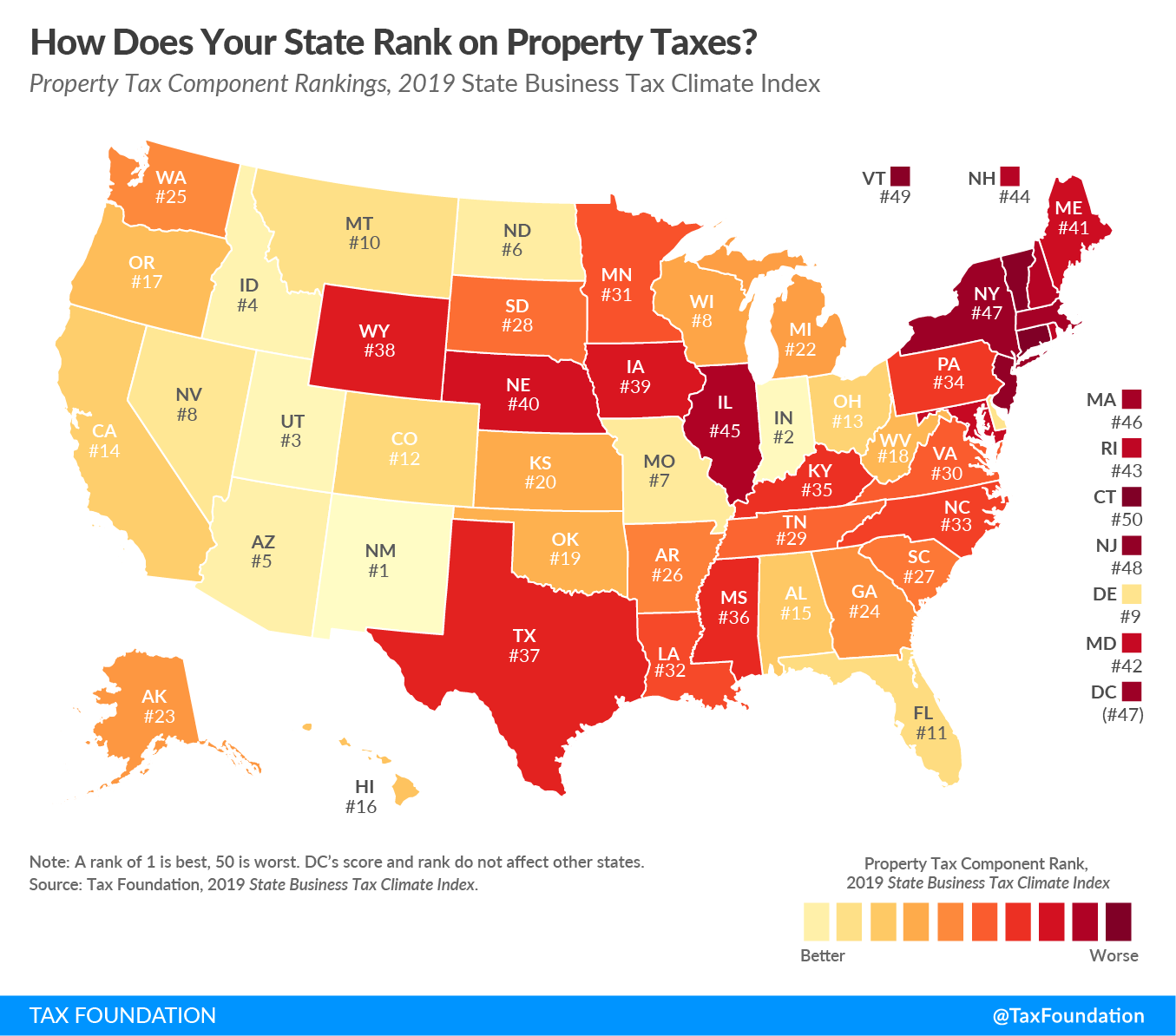 business property tax rankings map from tax foundation