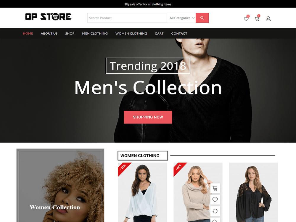 free ecommerce wordpress themes, opstore