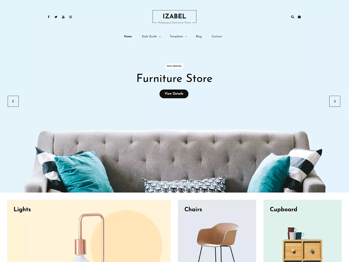 The free Izabel ecommerce WordPress theme mimics the visual appeal of Instagram and Pinterest.