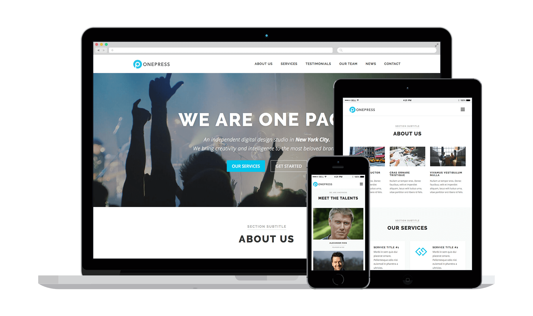 The free OnePress theme lets you quickly craft ecommerce-enabled landing page websites.
