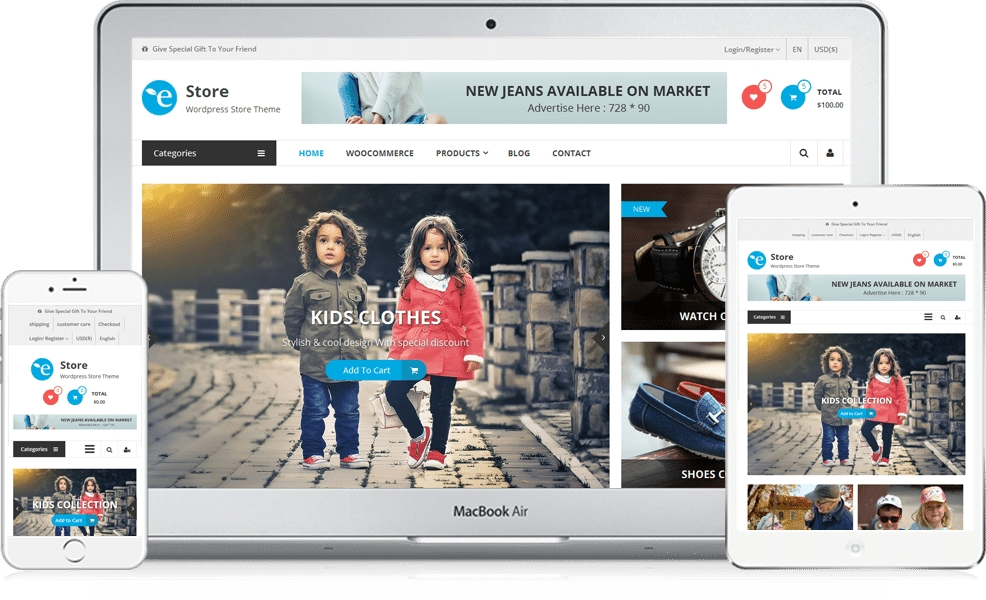 The free eStore WordPress ecommerce theme showcases large product collections beautifully.