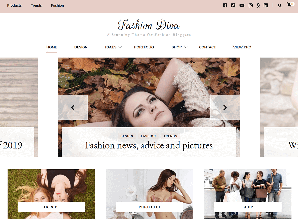 Fashion Diva is a blogger-inspired free WordPress theme that drives social engagement sitewide.