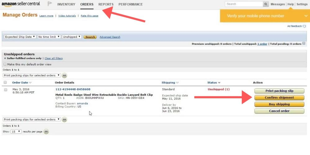tips for selling on amazon, confirm shipping