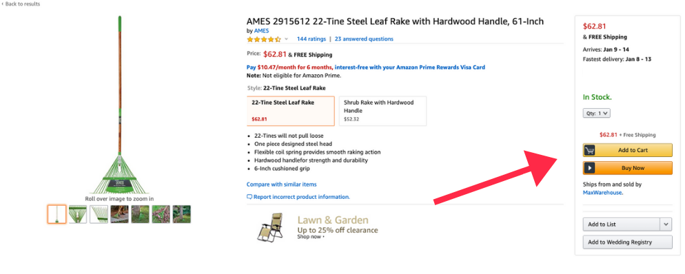 tips for selling on amazon, buy box example